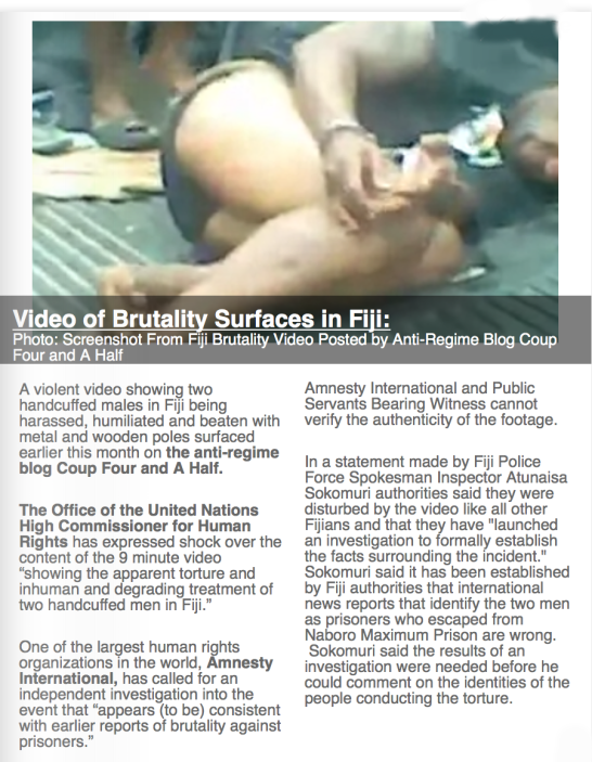 Screenshot From Fiji Brutality Video Posted by Anti-Regime Blog Coup Four and A Half
