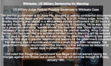 US Military Judge Reduce Possible Sentences in Wikileaks Case