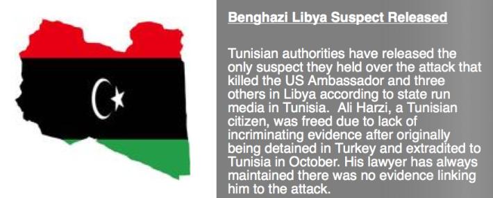 Benghazi Libya Suspect Released